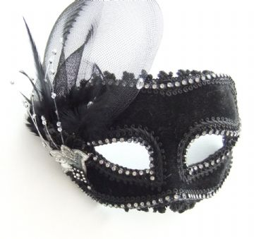 Black Velour mask with headband or ribbons